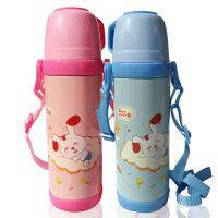 儿童卡通保温杯 不锈钢水壶杯子 学生保温瓶水杯带杯盖保温水壶(带挂绳) 500mL