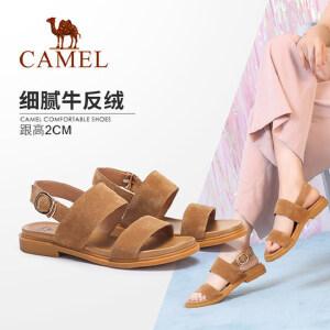 骆驼女鞋 2018夏季新款 舒适休闲牛反绒一字搭扣韩版百搭低跟凉鞋