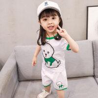 女宝宝夏装套装0一1-2-3岁韩版潮4女童夏季洋气儿童卡通5小孩衣服9801