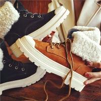 欧洲站冬季新款羊皮毛一体马丁靴真皮短靴复古保暖厚底学生女鞋潮