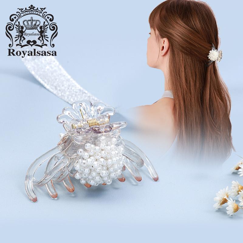 皇家莎莎发抓夹中号头饰成人仿珍珠抓夹立体花朵头饰简约发饰品