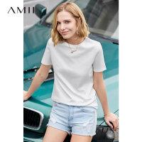【预估价88元】Amii极简港风气质T恤女2019夏季新款百搭圆领短袖60支丝光棉上衣