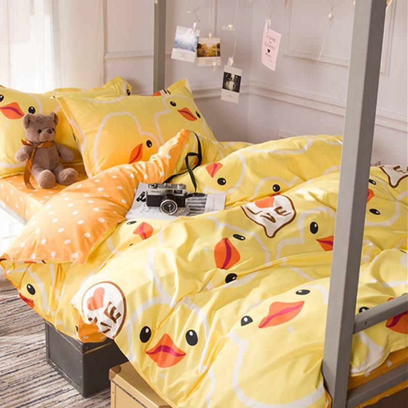 春季简约床品套件学生宿舍被子单人床上1米5被套床单