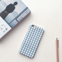 网红同款iPhone8plus手机壳创意6S简约格子苹果x超薄磨砂7P硬壳女 6/6S 蓝格子