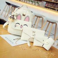 可爱女孩少女双肩包女大童休闲旅游背包韩版女童初中小学生书包皮 小猫米白色 四件套