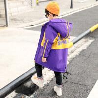 儿童秋冬装2018新款韩版洋气潮中大童男童加绒加厚外套中长款风衣