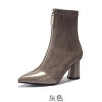 靴子女小跟短靴2018新款冬秋高跟裸靴黑色尖头粗跟袜靴弹力瘦瘦靴