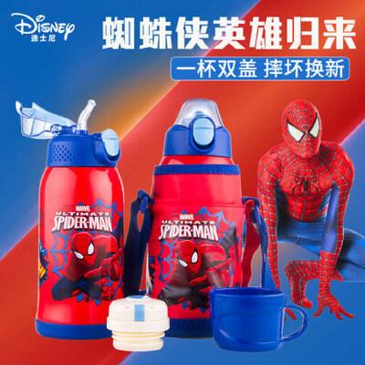 迪士尼儿童带吸管保温杯防摔幼儿园不锈钢两用宝宝水杯小学生水壶 双盖两用 摔坏换新 保温大容量