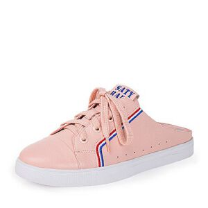 Teenmix/天美意2018夏专柜同款牛皮革字母平跟后空女凉鞋6W730BH8