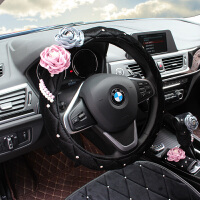 毛绒原创蔷薇花汽车安全带护肩套手刹套档位套扶手箱垫后视镜套女