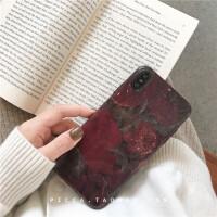 复古酒红花朵xs max苹果8plus手机壳个性iphone6s/7/x/XR创意硅胶 【i6/6s 4.7寸】