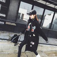 风衣女中长款韩版春季2018新学生b矮个子宽松工装港味复古薄外套 黑色