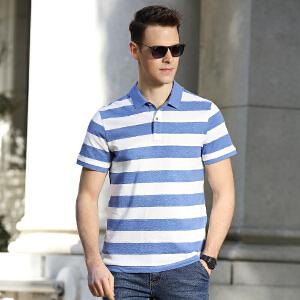 181008夏装新款吉普盾纯棉弹力短袖T恤衫 翻领条纹潮男polo衫商务