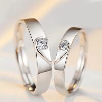情侣戒指 925银戒指一对日韩简约刻字潮人学生love心形礼物男对戒情人节礼物