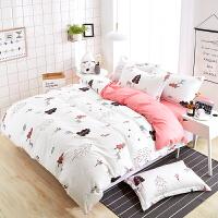 被套床单四件套1.8m双人床上用品2.0米单人1.5米 乳白色 熊粉