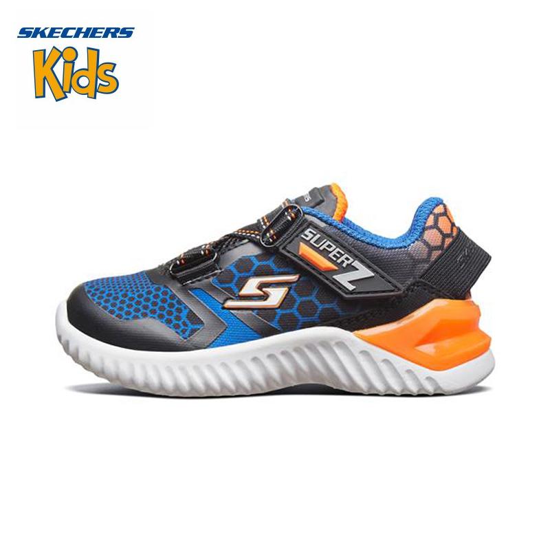 斯凯奇童鞋 (SKECHERS)男童鞋 新款魔术贴 Z型搭带休闲鞋 轻便运动户外鞋97755N-BBOR 黑色/蓝色/橙色(1岁—4岁)斯凯奇秋季新款