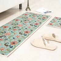 新中式地垫厨房脚垫门垫进门卫浴门厅浴室防滑垫床边地毯飘窗垫子 卷花 新款地垫 45*180cm 1条 地垫