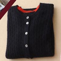 女士开衫毛衣短款麻花打底衫圆领针织小外套修身大码
