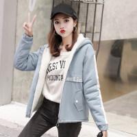 羊羔毛外套女冬季2018新款初中学生韩版bf宽松短款加绒加厚棉衣服