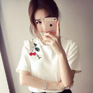 学生卡通T恤短袖女体恤潮韩范宽松显瘦上衣服刺绣小蜜蜂樱桃