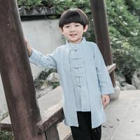 男童唐装套装春秋复古中国风童装儿童中式服装民国服饰小男孩汉服yly 浅蓝 上衣