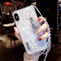 iphone6s水钻xr兔子xsmax华为vivox21苹果oppor15手机壳7p挂带8/x 白色兔子珠链 苹果6/