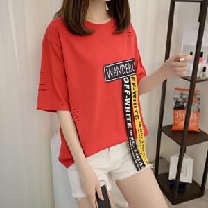 2018新款春季红色汽车T恤女短袖圆领宽松中袖简约棉质体恤上衣潮