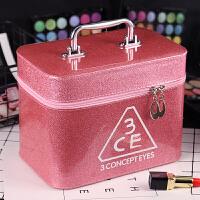 化妆包大容量小号便携韩国简约少女心可爱收纳盒方品袋化妆箱手提 大号 粉色