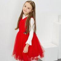 【1件4折到手价:199.6】米喜迪mecity童装女童层叠百褶网纱红色公主裙礼服连衣裙