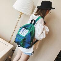 韩版时尚韩国变色亮片丝学院风双肩包休闲旅行背包潮 蓝绿色