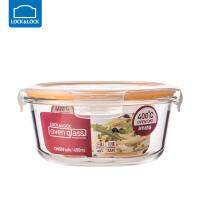 乐扣乐扣耐热玻璃饭盒保鲜盒便当盒密封碗大容量微波炉烤箱可用 650ML【圆形】