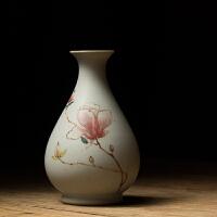 手绘玉兰杨梅果花器玉壶春陶瓷插花花瓶花艺摆件