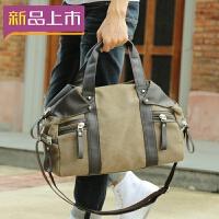2018韩版手提包男包帆布包 休闲单肩斜挎包潮流男士包包 户外旅行背包