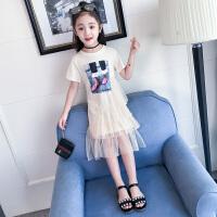 女童夏季短袖连衣裙新款韩版儿童裙子女大童夏装蓬蓬纱公主裙