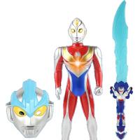 咸蛋超人发光音乐大刀剑男孩武器玩具银河奥特曼面具披风套装