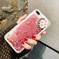 可爱卡通闪粉流沙樱桃小丸子苹果x手机壳iPhoneX/8plus/7软壳iphone6s/XS/XR