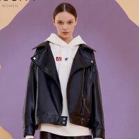 【1件3折价:188.7,可叠券】MECITY女装春季短款迪士尼联名黑色PU皮皮衣
