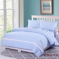 花边老粗布格子床单枕套被套三件套四件套单人双人加厚