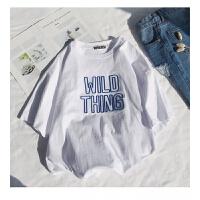 港味字母短袖T恤女夏季韩版宽松原宿bf风学生半袖打底上衣