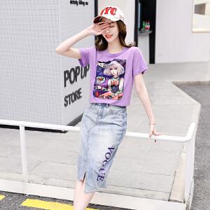 韩版宽松紫色印花人物T恤+高腰九分裤休闲运动裤原宿BF