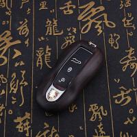 适用于保时捷钥匙包新macan卡宴帕拉梅拉911檀木汽车钥匙壳扣套包SN8027