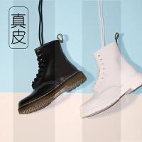 白色马丁靴秋季英伦风真皮ins短靴8孔高帮复古机车单靴男女靴黑色SN0239