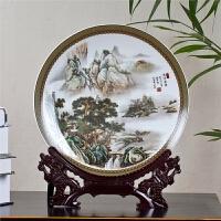 山水画清溪渔乐陶瓷盘摆盘装饰盘子摆件挂盘新中式家居工艺品摆设