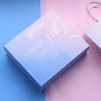 物有物语 礼品盒 大号创意包装盒子化妆品收纳盒生日礼物女生少女心小清新正方形伴手礼盒礼袋放杯子 轻羽礼盒 礼盒+袋子+