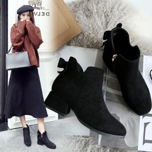 ZHR粗跟短靴韩版切尔西靴中跟加绒复古女靴子2018冬季新款