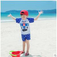 男童宝宝游泳衣中大童泳裤温泉泳装婴儿防晒男孩儿童短袖分体平角