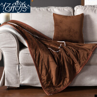 加厚抱枕被子两用汽车内羊羔绒珊瑚绒毯子靠垫午睡枕头被车上靠枕