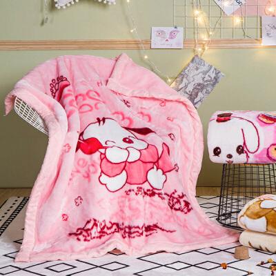???加厚双层毛毯空调毯可爱卡通婴儿童午睡毯子宝宝盖毯秋冬季  105cm x 135cm(2斤左右)+手提袋