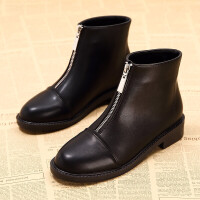 网红瘦瘦靴前拉链短靴平底2018新款短筒加绒皮鞋女冬学生马丁靴子 TBP