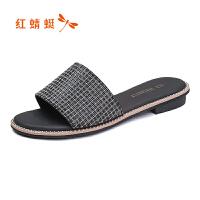【红蜻蜓抢购,领�患�100】红蜻蜓女凉鞋夏季新款正品时尚水钻一字扣粗跟女鞋子拖鞋